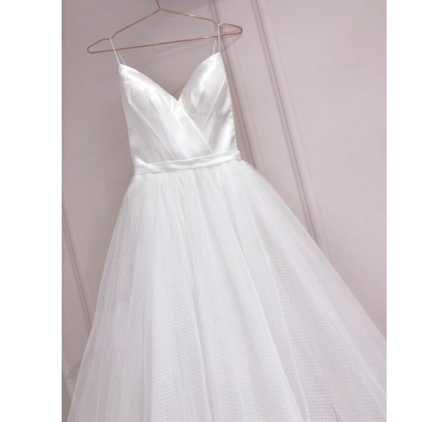 Simple White Tulle with Satin V-neckline Tea Length Wedding Dress, Simple White Party Dress