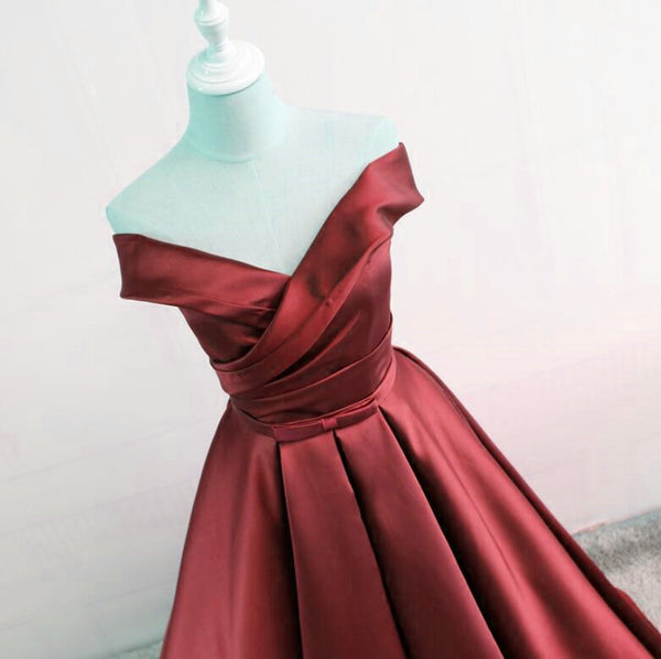 Wine Red Off Shoulder Satin Prom Dresses 2018, Formal Gowns, Party Dresses 2018