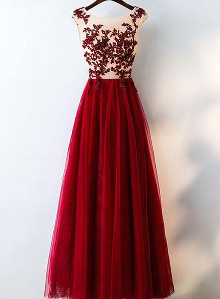 Wine Red Tulle Bridesmaid Dresses,Charming Prom Dresses 2018, Formal Dresses