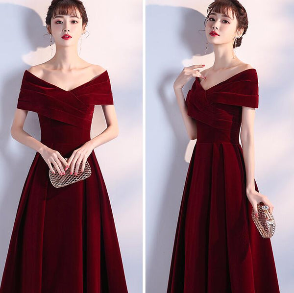 Elegant Wine Red Long Off Shoulder Velvet Party Dress, A-line Long Prom Dress