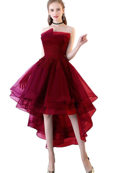 Chic High Low Dark Red Tulle Short Prom Dress with Lace Applique, Tulle Prom Dress