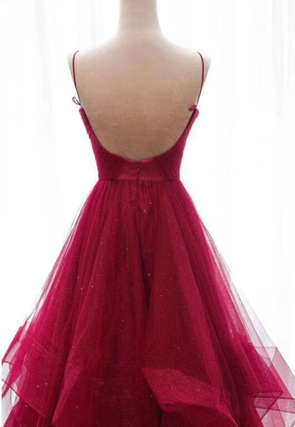 Wine Red Straps Layers V-neckline Long Prom Dress, Dark Red Evening Gown
