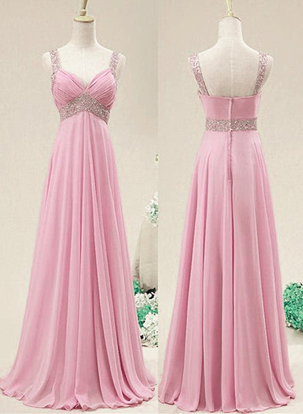 Lovely Pink Chiffon Long Prom Dress, Pink Formal Dress 2020