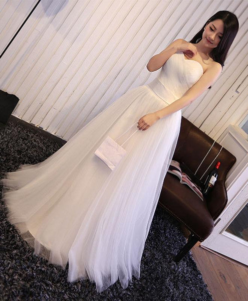 Simple Sweetheart Tulle Wedding Dress, Simple Party Gown, Evening Dresses