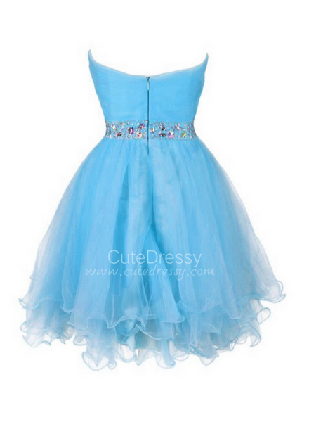 Lovely Sweetheart Light Blue Beaded Homecoming Dress, Short Blue Prom Dress 2021
