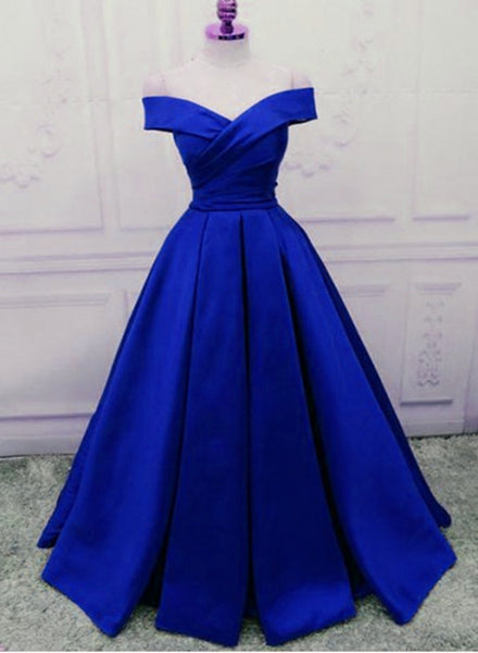 Royal Blue Satin Handmade High Quality Long Formal Gowns, Blue Evening Gowns, Long Formal Dresses