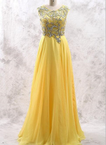 Yellow Handmade Beaded Long Party Dresses, Chiffon Prom Dress 2018, Party Gowns