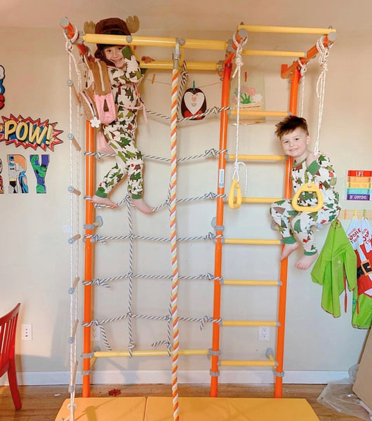 Brainrich Kids Model W1 Home Play Gym. Wall-mounted wall bars with a climbing rope net and monkey bars. Gymnastics rings and a climbing rope are included.