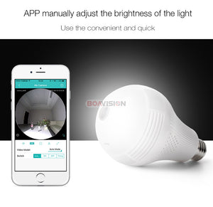 3D VR WIFI Wireless Panoramic Camera  Bulb Light (180/ 360 degree CCTV Home Security Mini Cam)