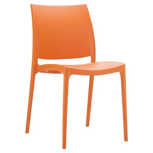 Chair Orange Ikon One Piece Poly Dining Chair