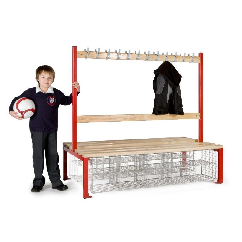 Cloakroom Storage 1500mm (24 coat hooks) / With 10 Shoe compartments Cloakroom Island Seating Double Sided, Junior Height 1500mm (24 coat hooks) / With 10 Shoe compartments