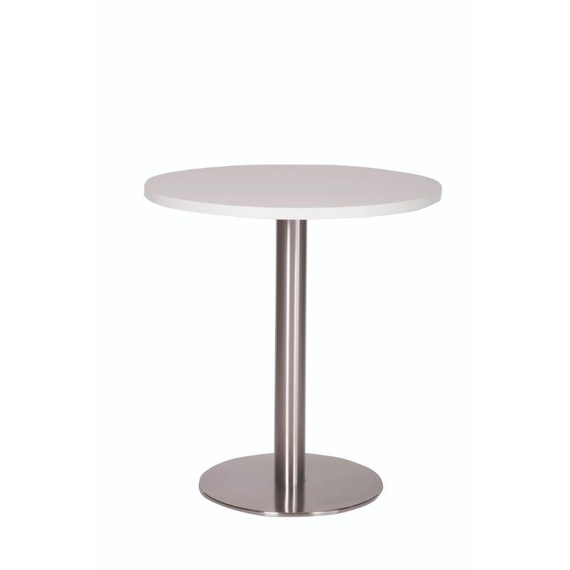 Dining Table White Carafe Round Stainless Steel Base Dining Table White