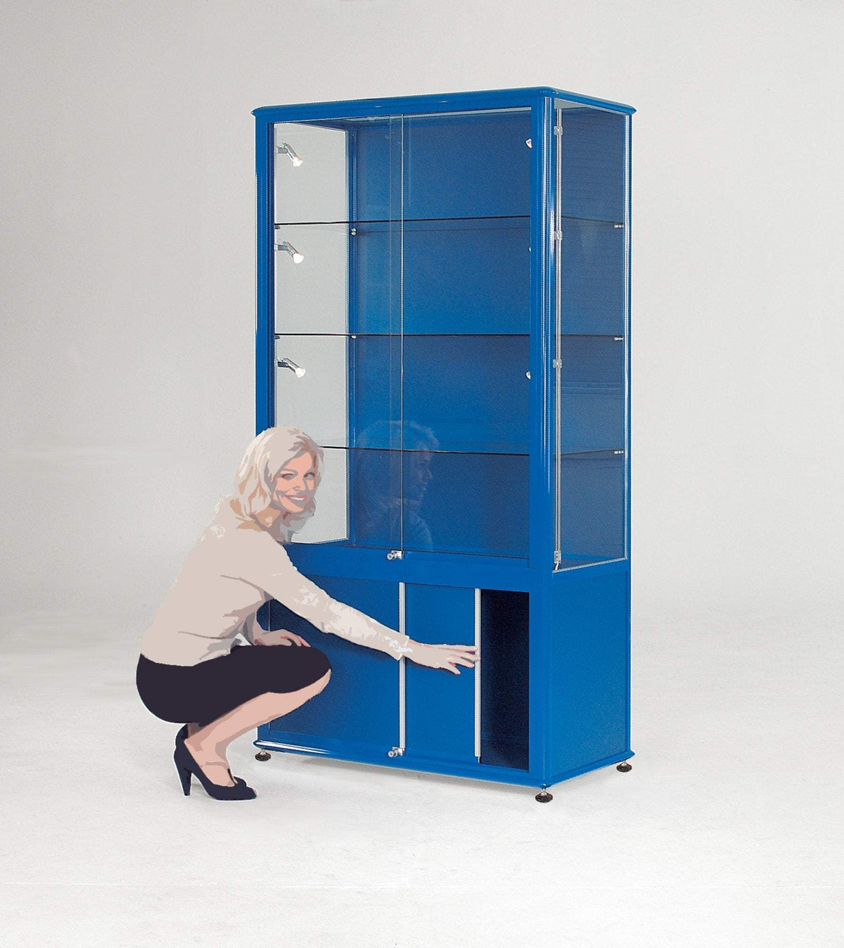display cabinet h2000 x w1200 x d600 mm / Aluminium / No Illumination Premium Glazed Tower Display Case with Cupboard h2000 x w1200 x d600 mm / Aluminium / No Illumination