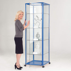 display cabinet h2000 x w600 x d600 mm / Aluminium / No Illumination Premium Glazed Tower Display Cases h2000 x w600 x d600 mm / Aluminium / No Illumination