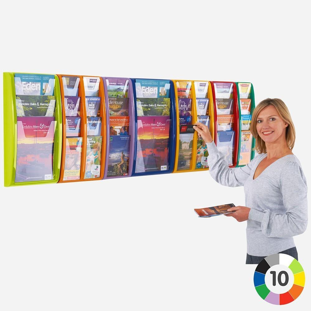 Display Cases 3 x A4 / Red Wall Mounted Literature Display 3 x A4 / Red