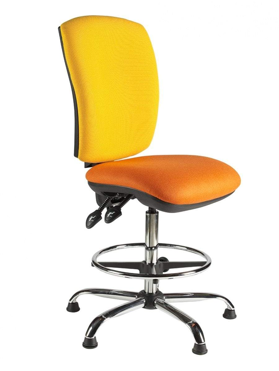 Draughtsman Chair No Arms / Standard / Chrome Hurley Squared Back Draughtsman Chair No Arms / Standard / Chrome