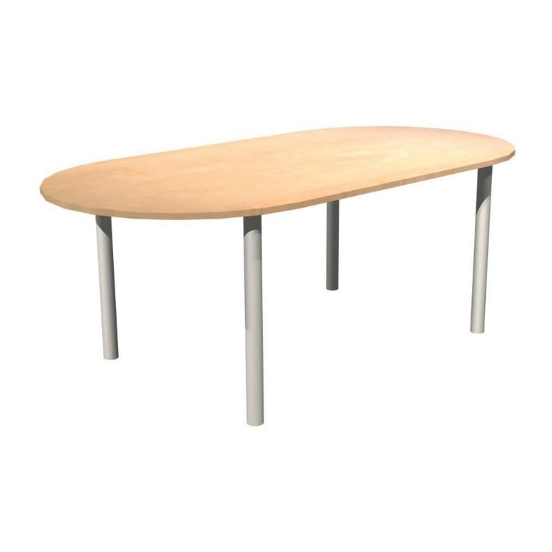 Meeting Table Alpine D-End Meeting Table With Pole Legs