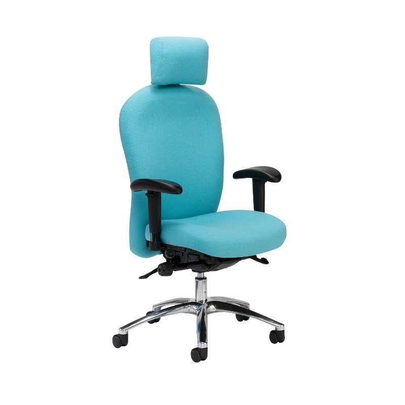 operator chair Adjustable Arms & Headrest / Polished Aluminium Posture 150 Backcare Operator Chair Adjustable Arms & Headrest / Polished Aluminium