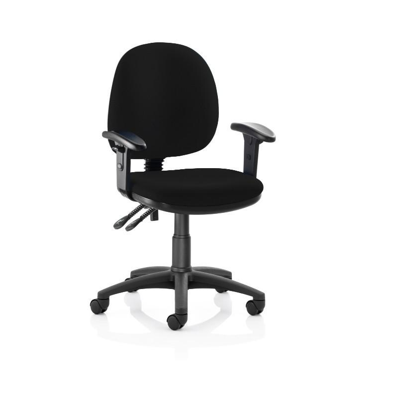 Operator Chair Black Height Adjustable Arms / Black Nylon Base Pitch High Back Operator Chair Black Height Adjustable Arms / Black Nylon Base