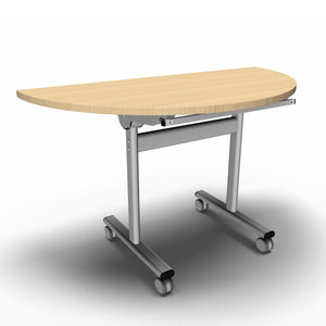 Table 1200 x 600 x 720mm / Semi Circular / Maple Synergy Flip Top Tables