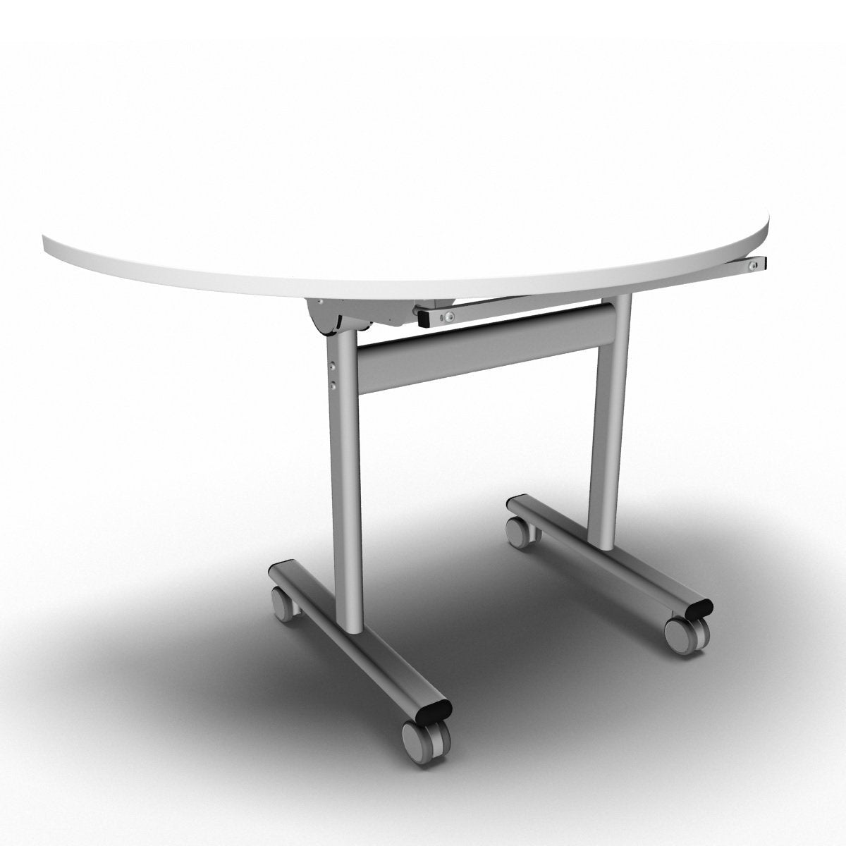 Table 1200 x 600 x 720mm / Semi Circular / White Synergy Flip Top Tables