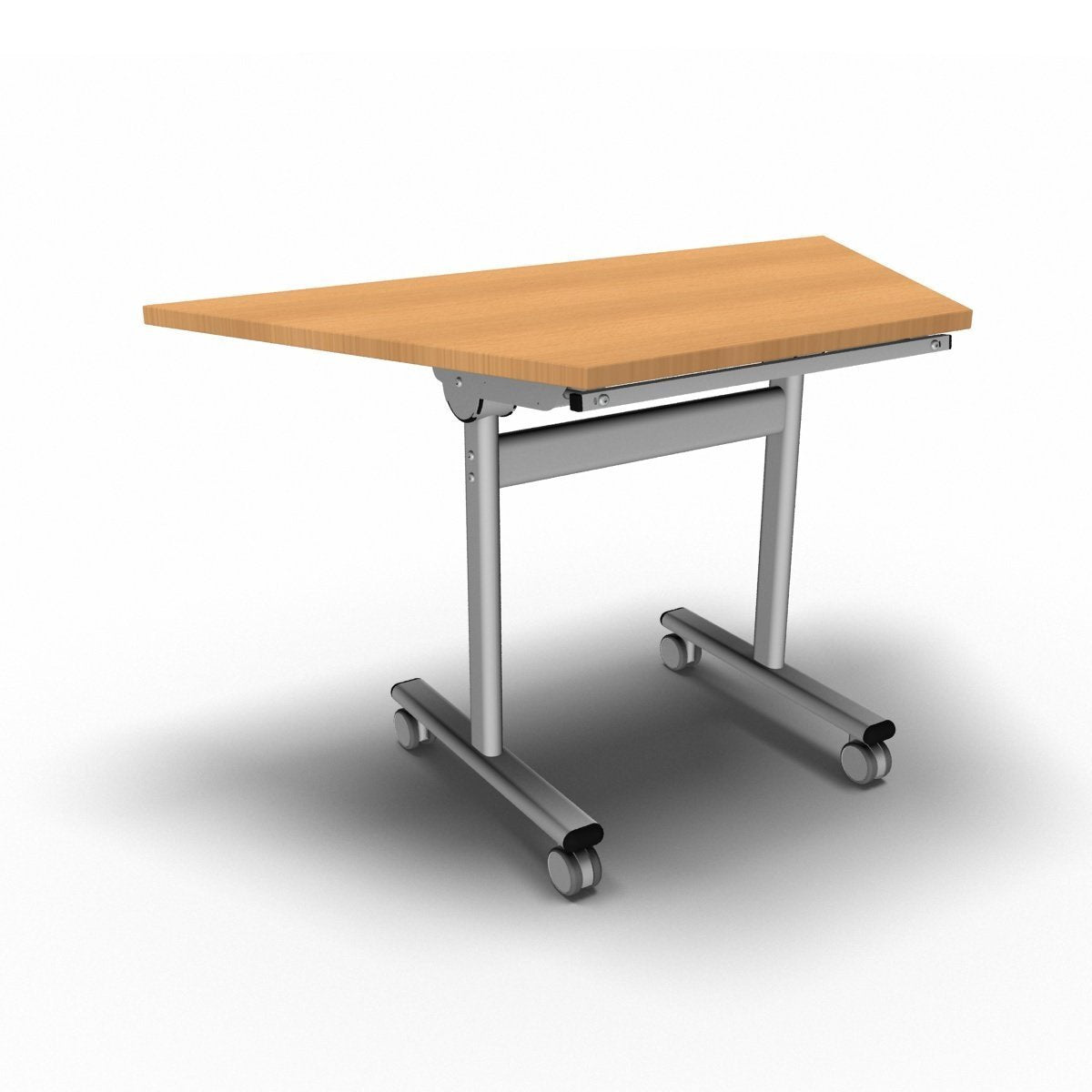 Table 1200 x 600 x 720mm / Trapezoidal / Beech Synergy Flip Top Tables