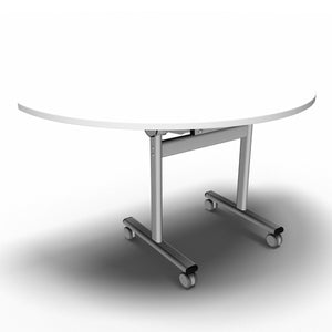 Table 1400 x 700 x 720mm / Semi Circular / White Synergy Flip Top Tables