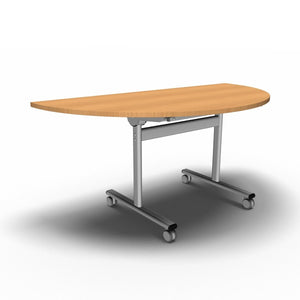 Table 1600 x 800 x 720mm / Semi Circular / Beech Synergy Flip Top Tables