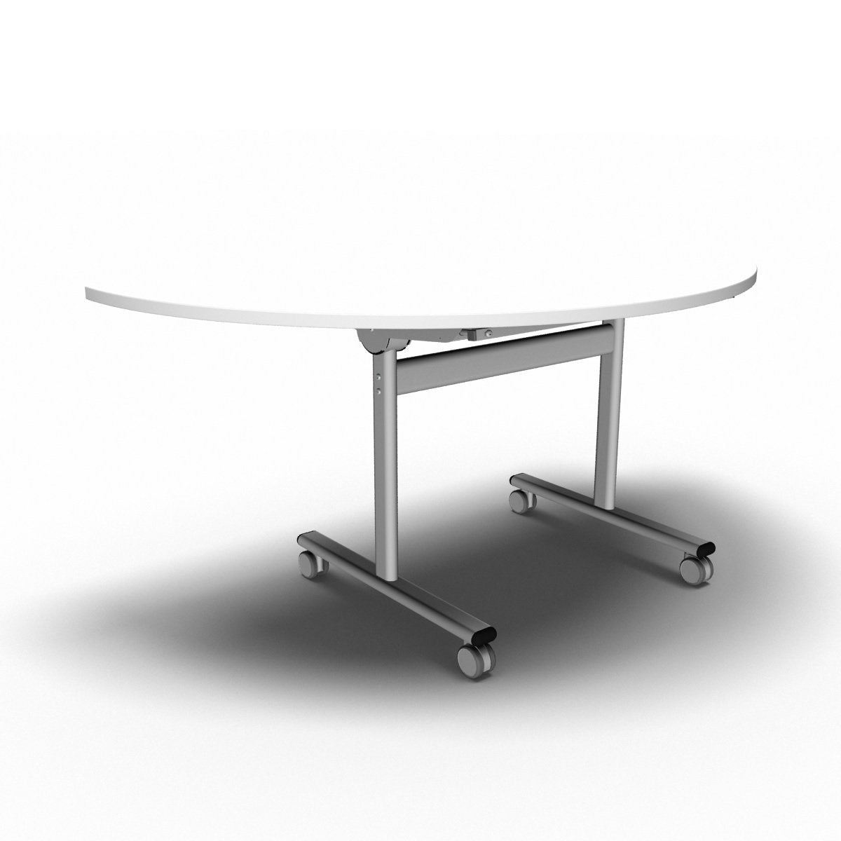 Table 1600 x 800 x 720mm / Semi Circular / White Synergy Flip Top Tables