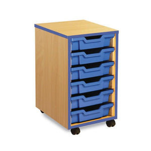 Tray Unit Coloured Edge 6 Shallow Tray Unit