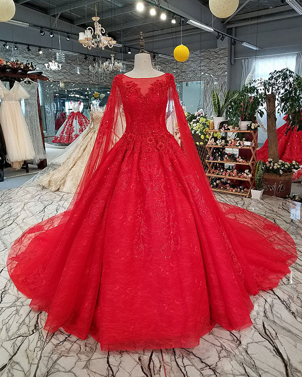 Elegant Red Lace Tulle Ball Gown Wedding Dresses With Full Sleeve