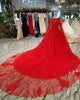 Elegant Red Lace Tulle Ball Gown Wedding Dresses with Full Sleeve 2018 Gorgeous Bridal Gowns with Cape