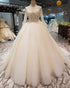 Modest 2019 Wedding Dresses Full Sleeve Lace Beaded Tulle Puffy Ruffles Ball Gown Bridal Dress