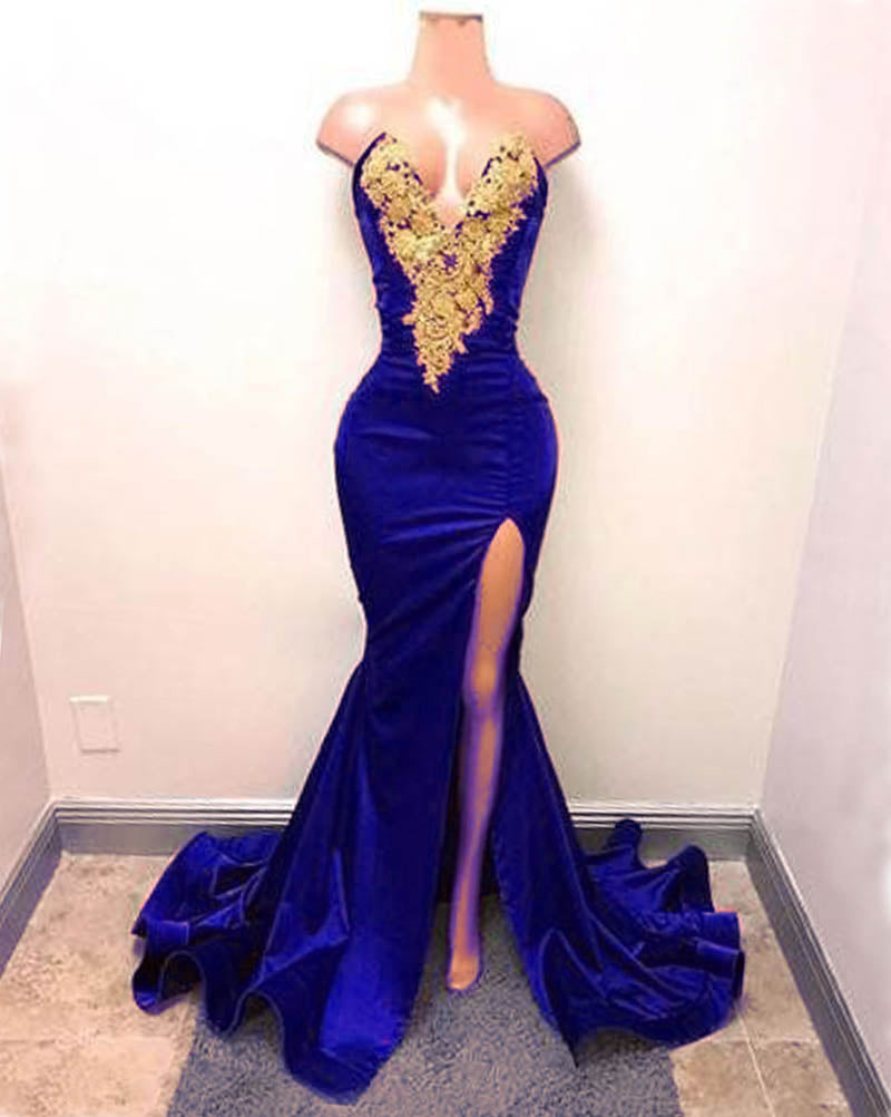 4d994eae1b Sexy 2018 Burgundy Mermaid Prom Dresses with Gold Lace Evening ...
