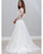 A-Line V-Neck Open Back Lace Beach Wedding Dress with 3/4 Sleeves