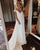 Sexy White Lace Beach Wedding Dress Cheap A-line Chiffon Cap Sleeve V-Neck Plus Size Bridal Gown