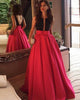 A line Prom Dresses with Plunge Neckline Satin Long 2018 Pageant Gowns