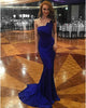 Delicate Royal Blue Mermaid Prom Dresses Strapless 2018 Fashion Spandex Sexy Evening Gowns Long