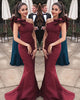 2018 Elegant Burgundy Prom Dresses Mermaid One Shoulder Flounced Sexy Evening Gowns Long
