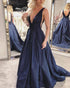 Sexy Deep V-Neck Taffeta Prom Dresses Navy Blue 2018 Backless Long Prom Gowns for Party