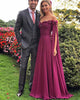 Off The Shoulder Burgundy Prom Dresses Fashion A-line Chiffon Long Prom Gowns for Party