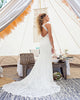 2018 Lace Mermaid Wedding Dresses Open Back Simple Wedding Gown with Chapel Train
