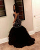Sexy Sweetheart Black Mermaid Evening Dresses Beaded Rhinestones 2018 Long Tulle Prom Gowns Pageant Dresses