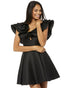 Black Satin Homecoming Dresses V-Neck Ruffles Sleeves 2018 Sexy Short Cocktail Dresses Mini Gowns
