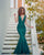 Sparkly Hunter Green Sequined Mermaid Evening Dresses with V-Neck 2018 Sexy Mermaid Prom Dress