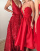 Sexy Dark Red Evening Dresses with V-Neckline Sparkly Sequined A line Formal Evening Gowns Backless