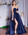 Popular 2018 Navy Blue Satin Prom Dresses Strapless A-line Long Prom Gowns Split Side