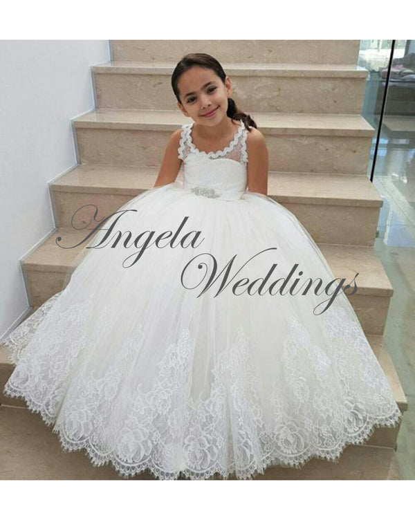 c68c11ec31 White Lace Flower Girls Dresses Ball Gown for Wedding Party 2018