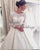 Elegant Satin Ball Gown Wedding Dresses with 3/4 Lace Sleeve