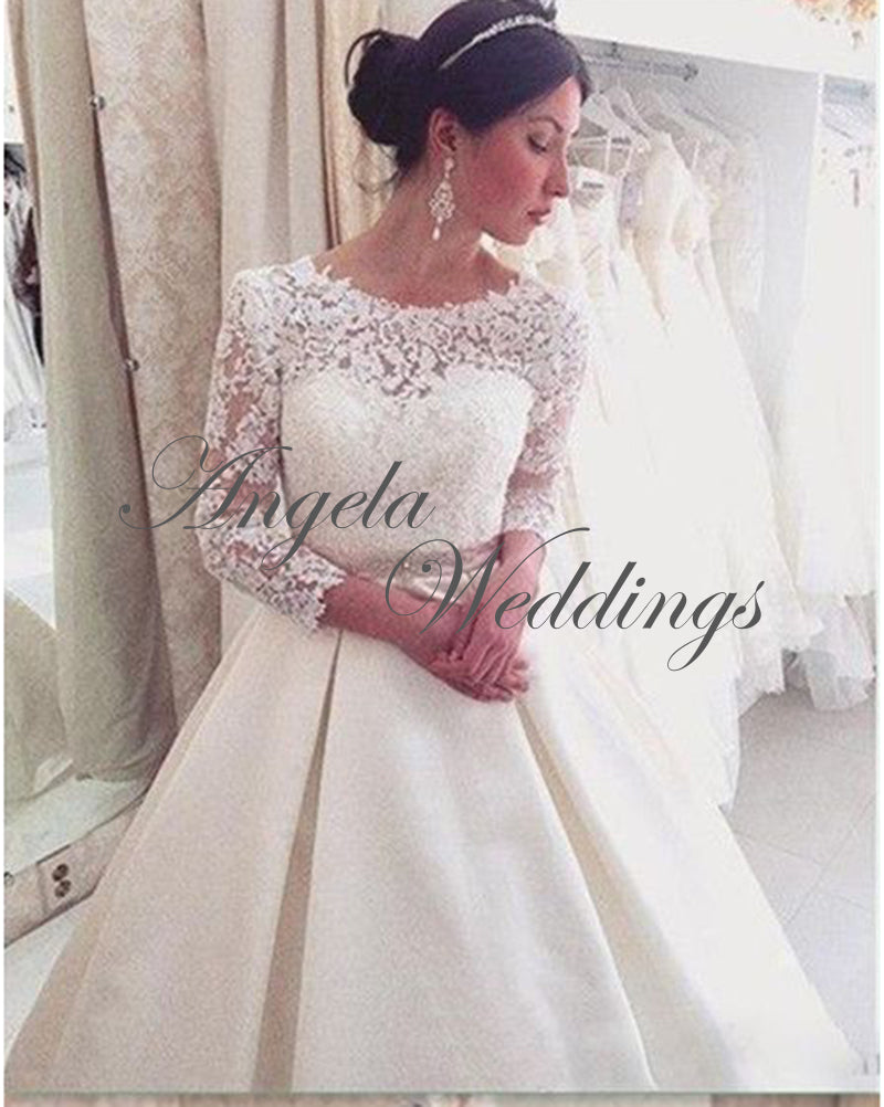 Elegant Satin Ball Gown Wedding Dresses With 34 Lace Sleeve